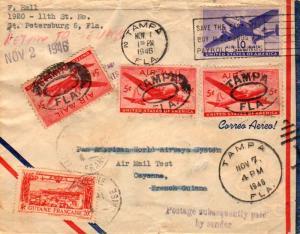 French Guiana U.S. 10c Transport 1946 Tampa, Fla. Pan Am Test Flight Airmail ...