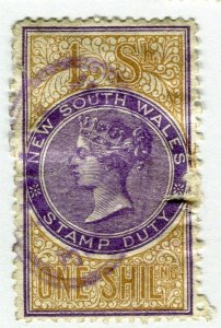AUSTRALIA NEW SOUTH WALES;  1901-33 Official Perfin fine used 1s. value