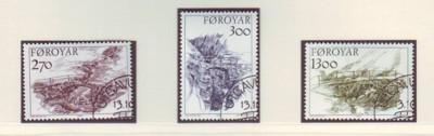 Faroe Islands Sc 149-51 1986 old stone bridges stamp set ...