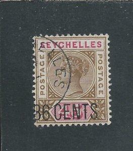 SEYCHELLES 1896 36c on 45c BROWN & CARMINE FU SG 27 CAT £60