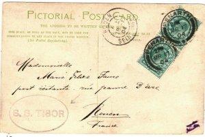GB Wales Card PENARTH PPC *SS TIBOR* Cachet France Rouen 1904{samwells}ZB51
