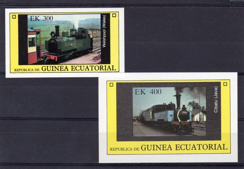 Equatorial Guinea 1977 Locomotives-Trains 2 S/S Imperforated MNH VF