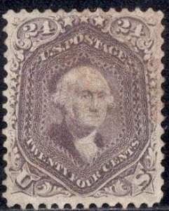 US Stamp Scott #70 24c Red Lilac Washington USED SCV $300. Great Centering!