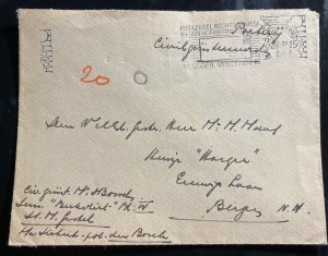 1942 Shertogenbosch Germany Military Mail  Cover To Bergs
