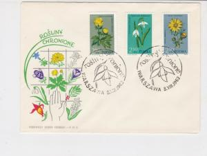 Poland 1962 Protected Plants Picture Snowdrop Slogan FDC Stamps CoverRef 25079