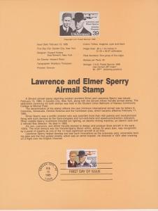 US SP669 Lawrence & Elmer Sperry Souvenir Page #C114