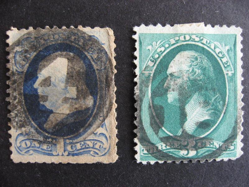 USA negative 4 and 18 fancy cancels, stamps have faults, check them out!