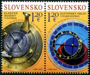 HERRICKSTAMP NEW ISSUES SLOVAKIA Sc.# 813 Sun Dial, Astronomical Clock Joint Iss