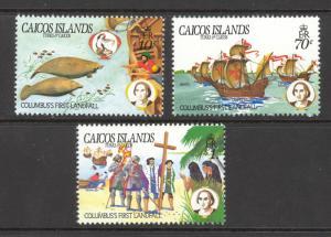 Turks & Caicos Is. Caicos Sc#50-52 MNH 1984 10c-$1.00 Columbus' First Landfall