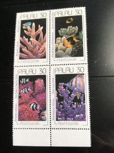 Palau #262a Mint VF-NH 2015 Cat. $3.25 Corals Block of Four 1991
