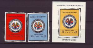 J1725 JLS stamps 1962 colombia mh #743-4,c433 set/3 flags
