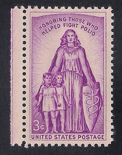 1087 3 cent Polio, March of Dimes mint OG NH EGRADED VF 79