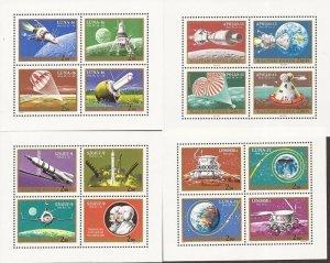 Hungary - 1970-1 Apollo 13 Soyuz 9 - Set of 4 Souvenir Sheets - Scott #C308-11