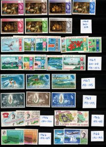 CAYMAN ISLANDS - Lot of Mint Stamps from the 1960's in mostly Sets