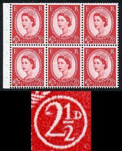 SG544bd SB81d 2 1/2d Booklet Pane Wmk Edward Upright Swan Flaw R1/1 U/M