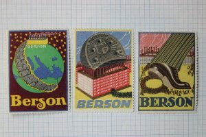 Berson Shoe boot metal heel Giant German Brand  Poster stamp ad labels used/mint