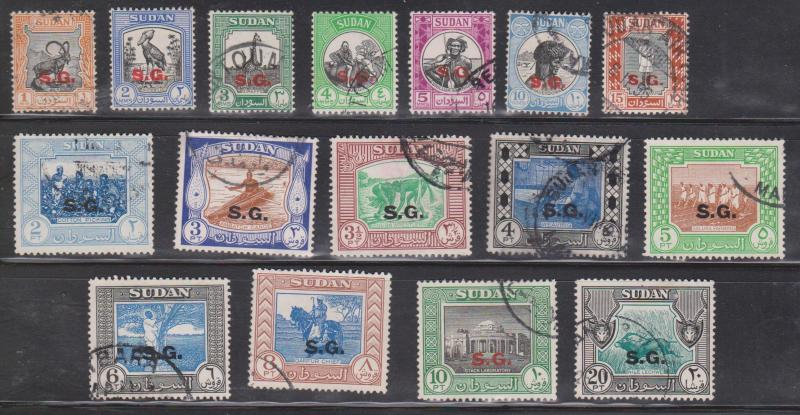 SUDAN Scott # O44-59 Used - Official Issues Overprinted SG