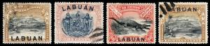 Labuan Scott 83, 84b, 85, 86a (1897-98) Used/Mint H F-VF, CV $65.55 B
