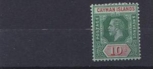 CAYMAN ISLANDS 1912 - 20  S G 52B  10/- DEEP GREEN  M H CAT £130