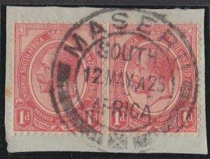 BASUTOLAND 1923 Sth Africa GV 1d pair MASERU cds on piece...................N388