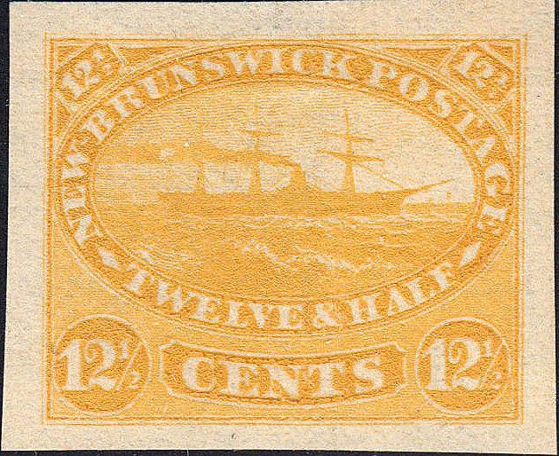 NEW BRUNSWICK 10TC Proof on India, Yellow. (122018)
