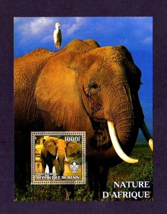 BENIN - 2006 - ELEPHANTS -  AFRICAN ELEPHANT - BIRD - MINT - PERF SHEET!