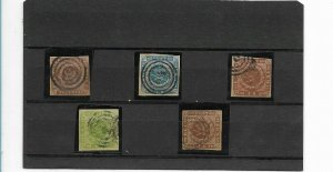 DENMARK 1851 1862 SCOTT 2, 3, 5 & 7 USED CLASSIC STAMPS HIGH VALUE ROYAL EMBLEMS