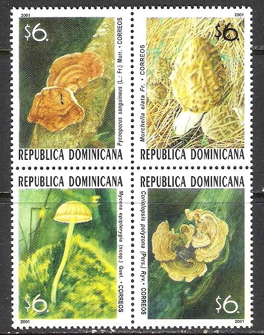 DOMINICAN REPUBLIC 1383 MNH MUSHROOMS BLOCK OF 4 [D2]