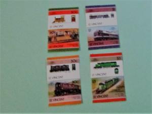 St. Vincent - 961-04, MNH Set (Pairs). Locomotives. SCV - $2.15