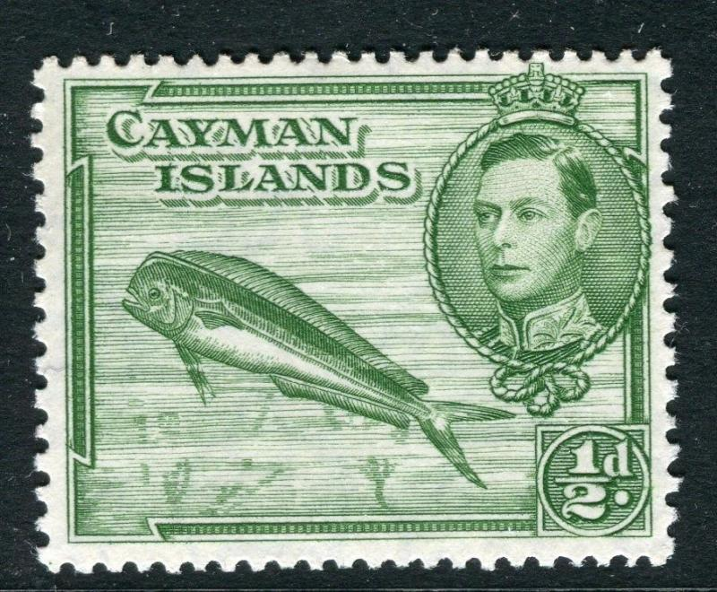 CAYMAN ISLANDS;  1938 early GVI issue fine Mint hinged 1/2d. value