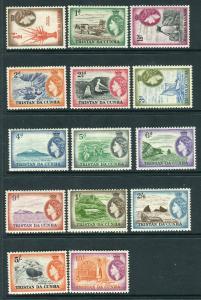 TRISTAN DA CHUNA-1954  A lightly mounted mint set to 10/- Sg 14-27