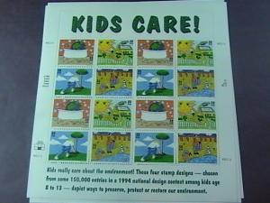 U.S.# 2951-2954(2954a)-MINT/NH--EARTH DAY/ KIDS CARE-- PANE OF 16---1995