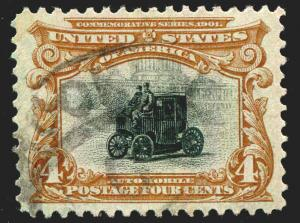 US STAMPS #296 4¢ Electric Car Used XF