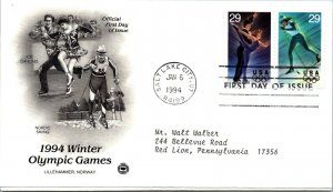 Winter Olympic Game Alpine Ice Dancing / Skiing First Day Cover 1994 cachet