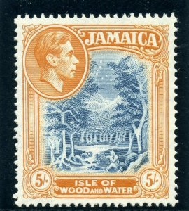 Jamaica 1942 KGVI 5s deep blue & deep orange (p14 comb) superb MNH. SG 132 var.