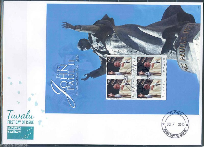 TUVALU  5th MEMORIAL ANNIVERSARY POPE JOHN PAUL II  SHEET I FIRST DAY COVER