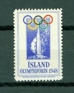 Iceland.  Poster Stamp Mnh. 1948 Olympic Support