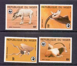 Niger  #688-691   1985  MNH  endangered animals WWF  oryx addax    complete