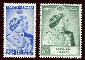 Leeward Islands 1949 KGVI Silver Wedding set complete superb MNH. SG 118-118.