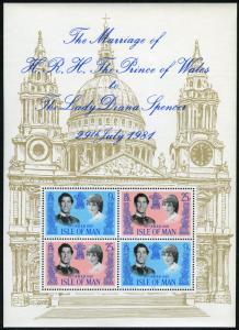 Isle of Man #199a MNH S/S CV$2.25 Royal Wedding Charles Diana Buckingham