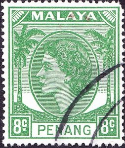 MALAYA PENANG 1955 8c Green SG33 Fine Used