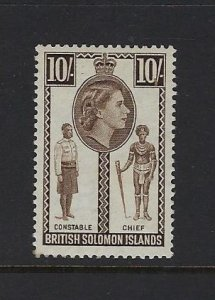 SOLOMON ISLANDS SCOTT #104 1956-60- QEII 10 SHILLING- MINT NEVER HINGED