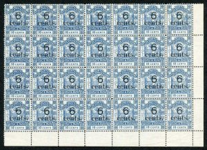 North Borneo SG57/a 1891 6c on 10c blue Corner Block of 28 inc Large S in cents
