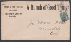 Canada Sc 75 on Stone & Wellington Advertising Cover, Largest Canadian Nurseries