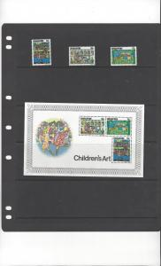 Singapore 285-7a Children's Art Stamps & Souvenir Sheet