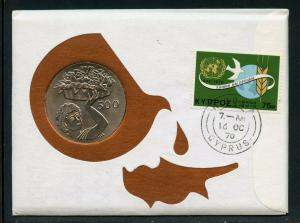 CYPRUS  197O COMBO FIRST DAY OF ISSUE 500 MILS CROWN COVER AS SHOWN