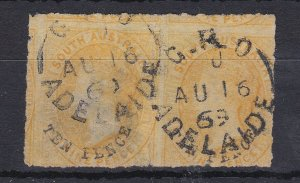 SA47) South Australia 1869 second rouletted issue 10d on 9d Yellow surcharge