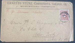 1894 Montevideo Uruguay Commercial Cover To New York Usa Via Lisbon