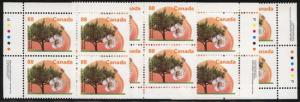 Canada USC #1373 Mint MS Imp. Blocks VF-NH Cat. $40. 1994 88c Westcot Apricot