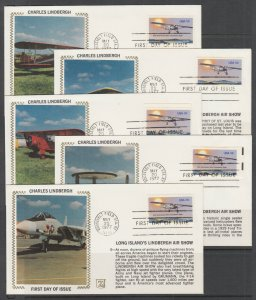 US Sc 1710  FDC. 1977 Charles Lindbergh, Z Silk Cachet Special Edition, cplt set